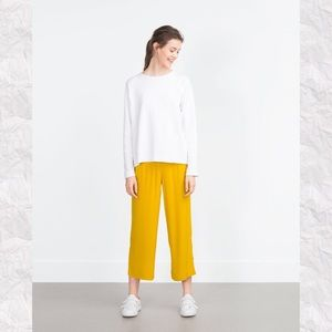 Zara Trafaluc Gold Straight Leg Crop Pants